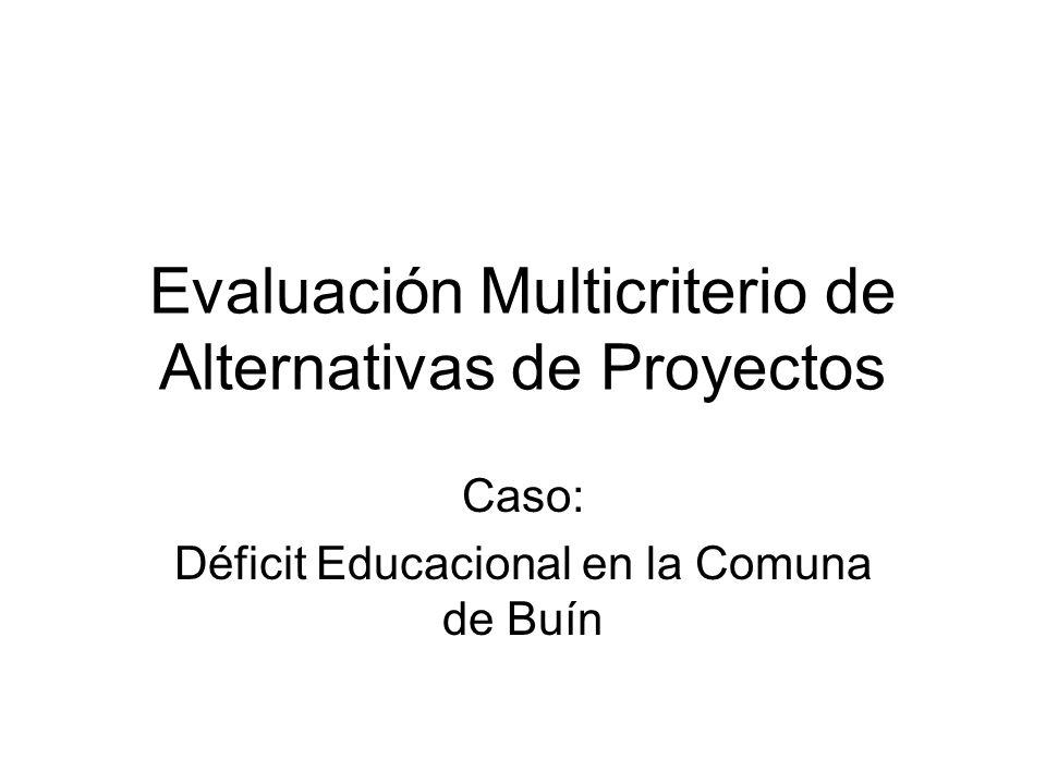 Evaluación Multicriterio de Alternativas de Proyectos Caso: Déficit Educacional en la Comuna de Buín