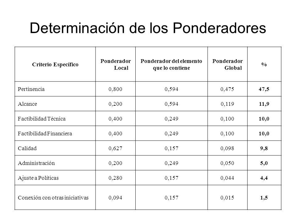 Determinación de los Ponderadores Criterio Específico Ponderador Local Ponderador del elemento que lo contiene Ponderador Global % Pertinencia0,8000,5