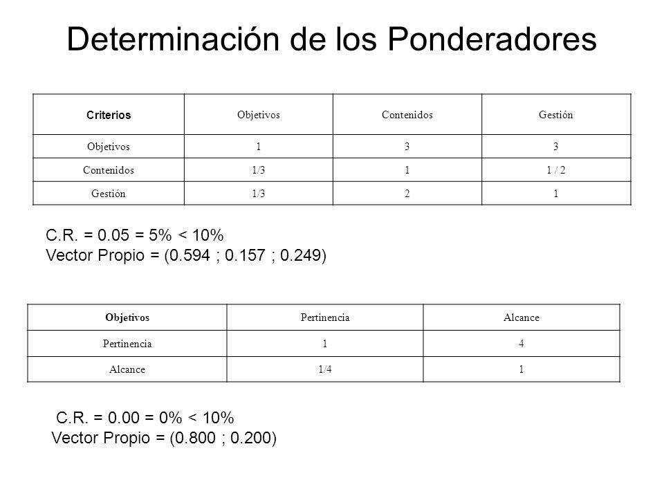 Determinación de los Ponderadores Criterios ObjetivosContenidosGestión Objetivos133 Contenidos1/311 / 2 Gestión1/321 ObjetivosPertinenciaAlcance Perti