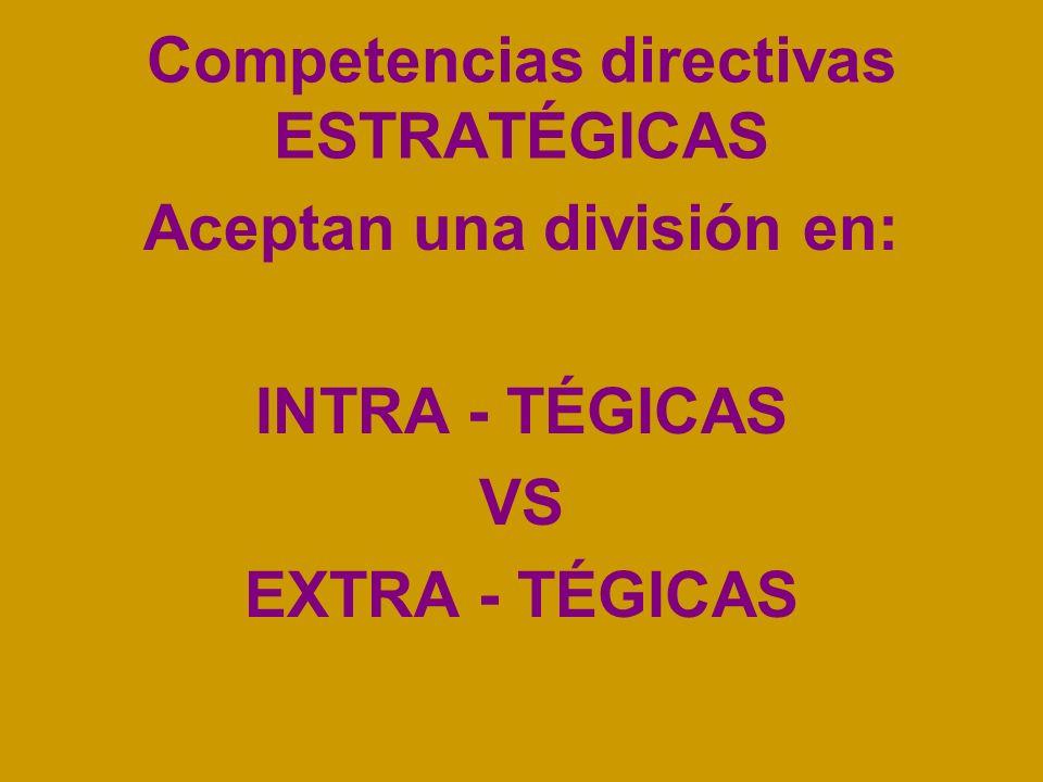 Competencias directivas ESTRATÉGICAS Aceptan una división en: INTRA - TÉGICAS VS EXTRA - TÉGICAS