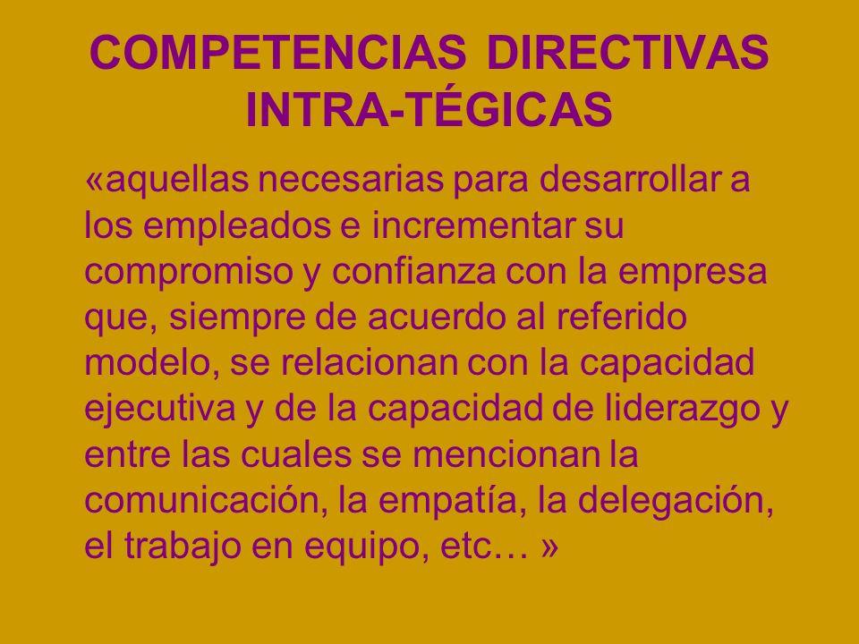 COMPETENCIAS DIRECTIVAS INTRA-TÉGICAS «aquellas necesarias para desarrollar a los empleados e incrementar su compromiso y confianza con la empresa que