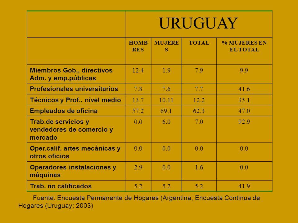 Fuente: Encuesta Permanente de Hogares (Argentina, Encuesta Continua de Hogares (Uruguay; 2003) URUGUAY HOMB RES MUJERE S TOTAL% MUJERES EN EL TOTAL M