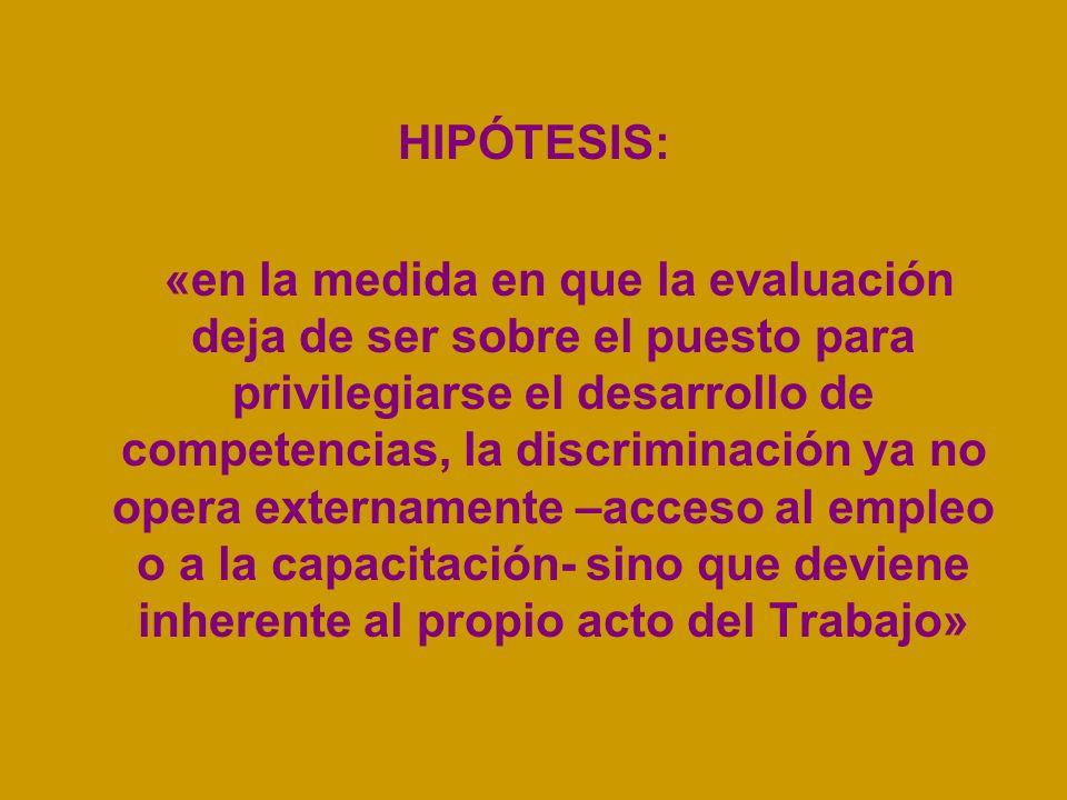 HIPÓTESIS: «en la medida en que la evaluación deja de ser sobre el puesto para privilegiarse el desarrollo de competencias, la discriminación ya no op