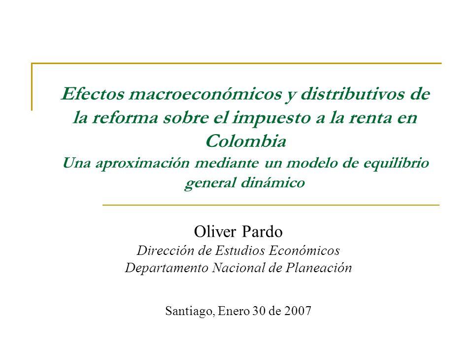 Efectos macroeconómicos y distributivos de la reforma sobre el impuesto a la renta en Colombia Una aproximación mediante un modelo de equilibrio gener