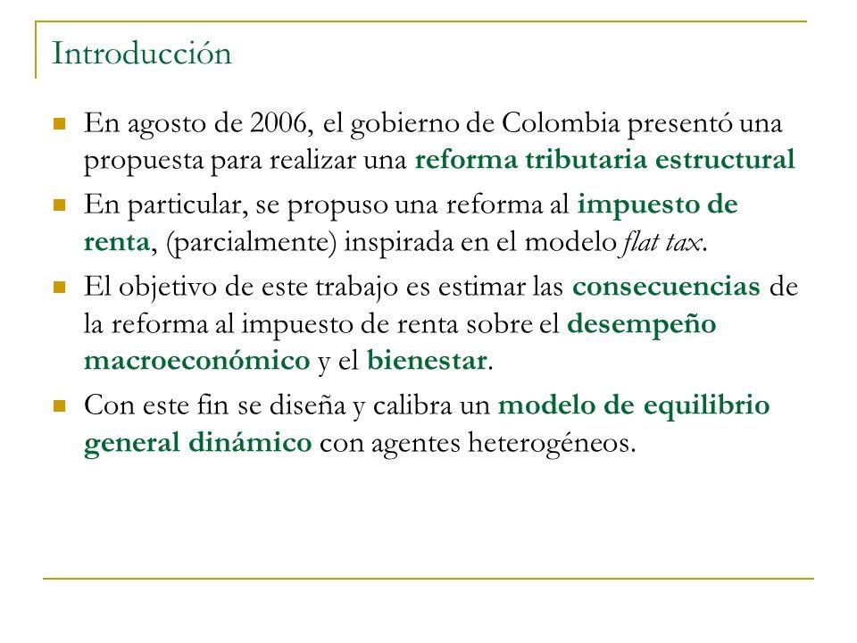 Introducción En agosto de 2006, el gobierno de Colombia presentó una propuesta para realizar una reforma tributaria estructural En particular, se propuso una reforma al impuesto de renta, (parcialmente) inspirada en el modelo flat tax.