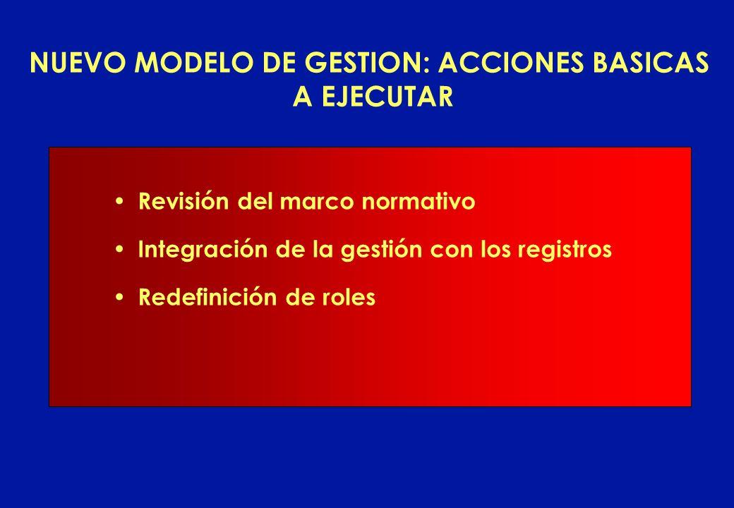 NUEVO MODELO DE GESTION: ACCIONES BASICAS A EJECUTAR Revisión del marco normativo Integración de la gestión con los registros Redefinición de roles