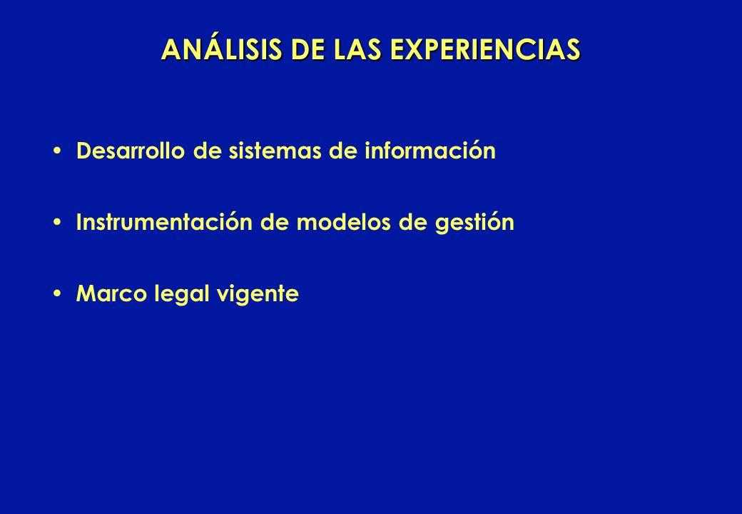 Desarrollo de sistemas de información Instrumentación de modelos de gestión Marco legal vigente ANÁLISIS DE LAS EXPERIENCIAS