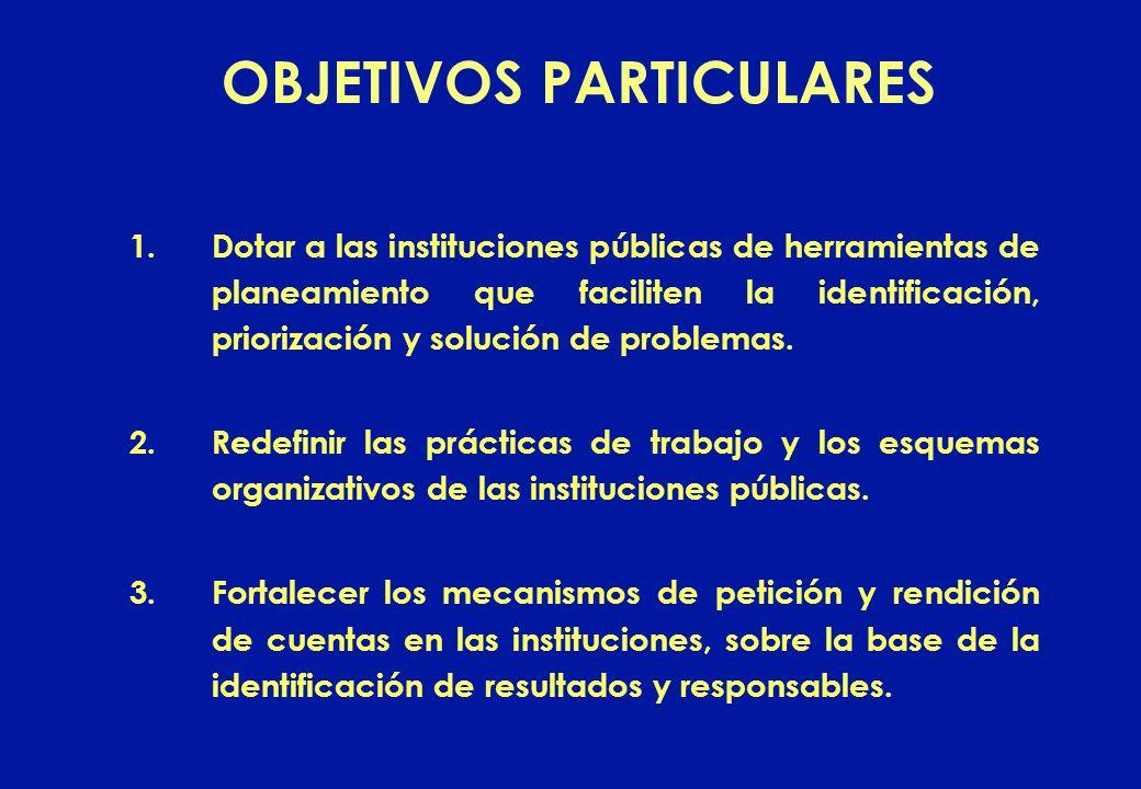 1.Dotar a las instituciones públicas de herramientas de planeamiento que faciliten la identificación, priorización y solución de problemas. 2.Redefini