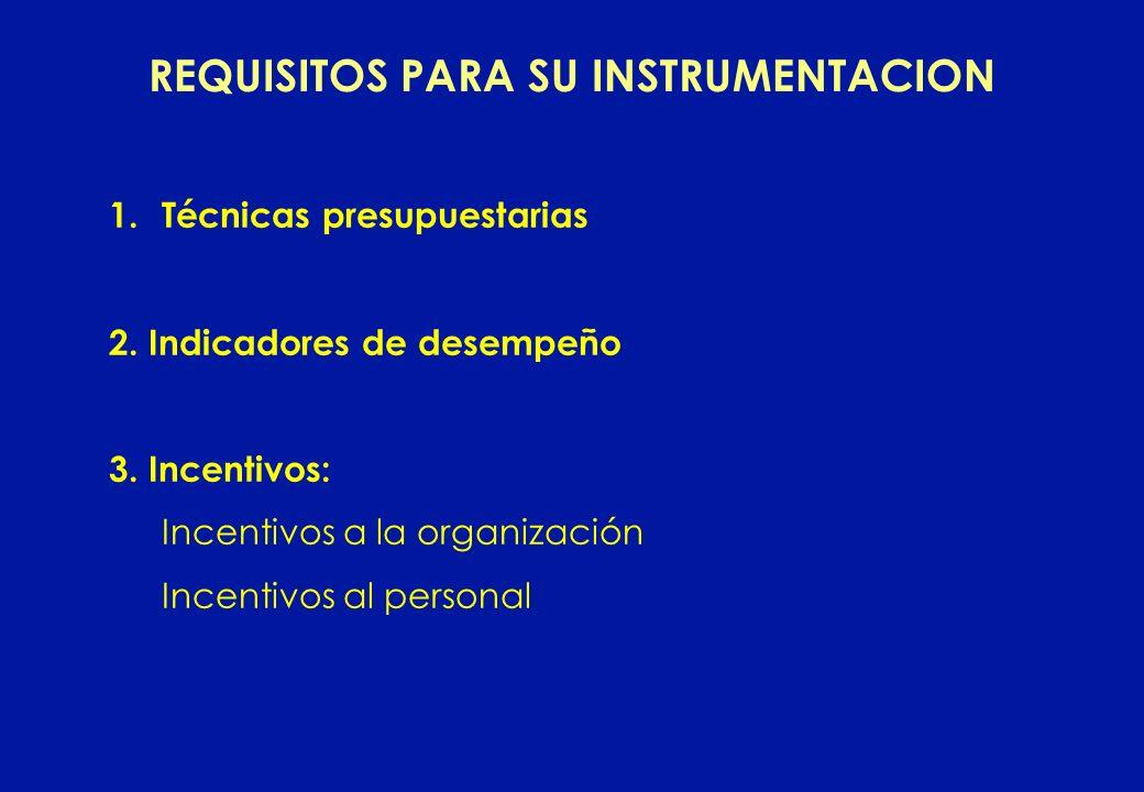 REQUISITOS PARA SU INSTRUMENTACION 1.Técnicas presupuestarias 2. Indicadores de desempeño 3. Incentivos: Incentivos a la organización Incentivos al pe