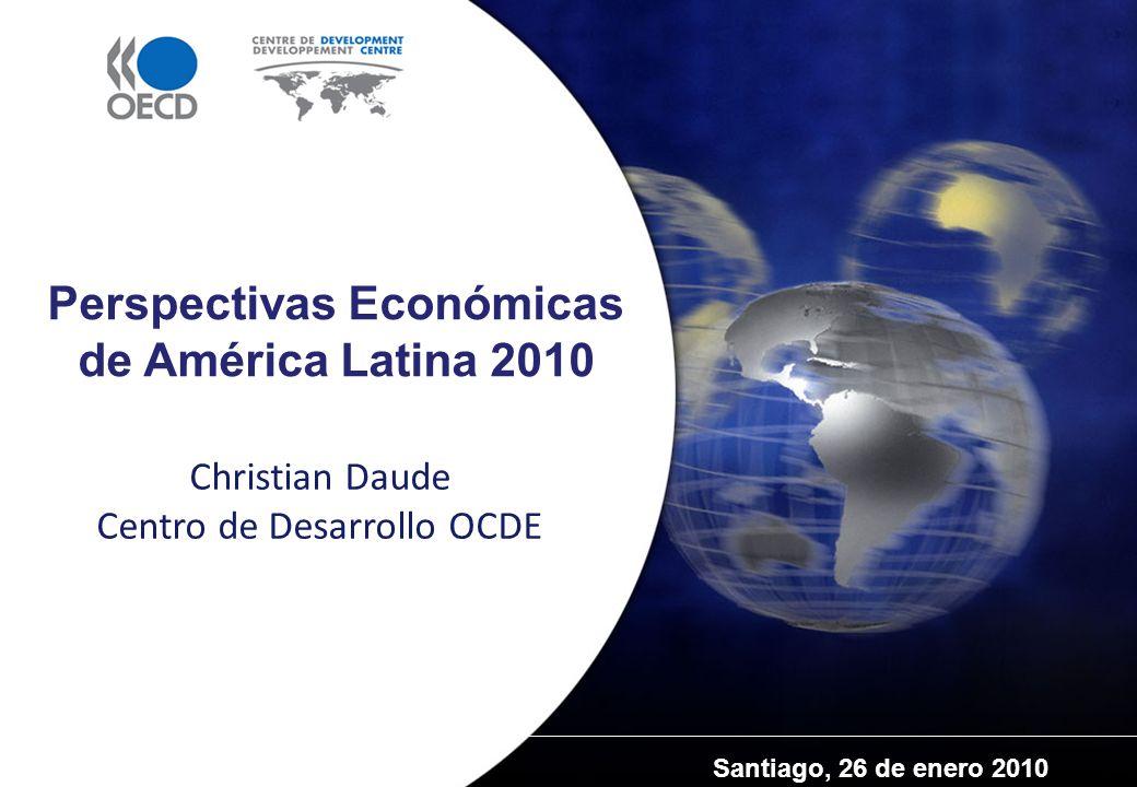 El Centro de Desarrollo de la OCDE y América Latina Importancia creciente de las democracias y economías de mercado latinoamericanas para la OCDE La dimensión latinoamericana en la OCDE: -México: País miembro desde 1994 -Chile: País miembro desde enero 2010 -Brasil: País de cooperación reforzada desde mayo 2007 El Centro de Desarrollo: Un puente entre los países de la OCDE y las economías emergentes La dimensión latinoamericana en el Centro de Desarrollo de la OCDE : -Siete países latinoamericanos son miembros del consejo de dirección del Centro: Brasil, Chile, Colombia, Costa Rica, República Dominicana, México, Perú -Consolidación de la Oficina de las Américas