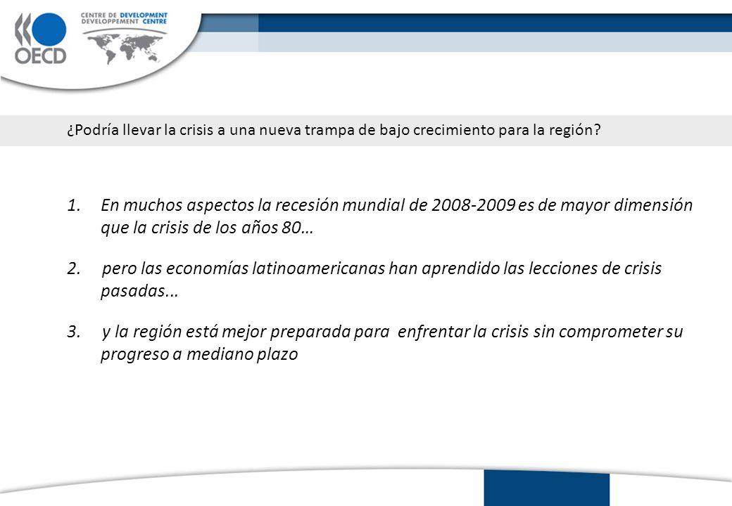1.En muchos aspectos la recesión mundial de 2008-2009 es de mayor dimensión que la crisis de los años 80… 2.