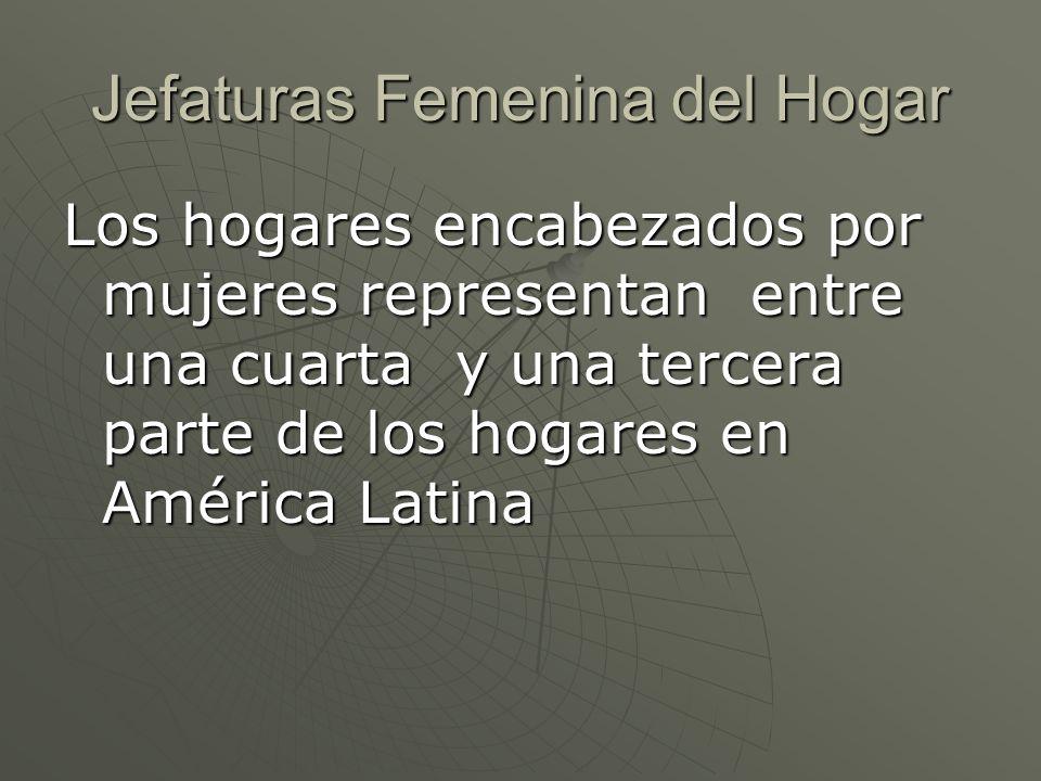 Jefaturas Femenina del Hogar Los hogares encabezados por mujeres representan entre una cuarta y una tercera parte de los hogares en América Latina