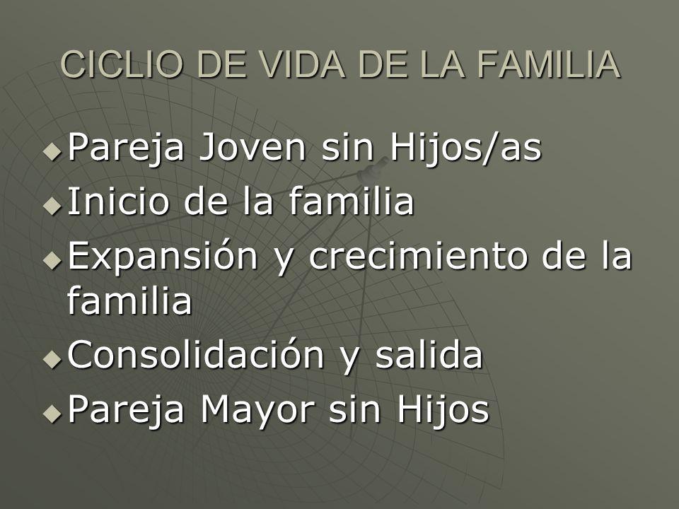 CICLIO DE VIDA DE LA FAMILIA Pareja Joven sin Hijos/as Pareja Joven sin Hijos/as Inicio de la familia Inicio de la familia Expansión y crecimiento de
