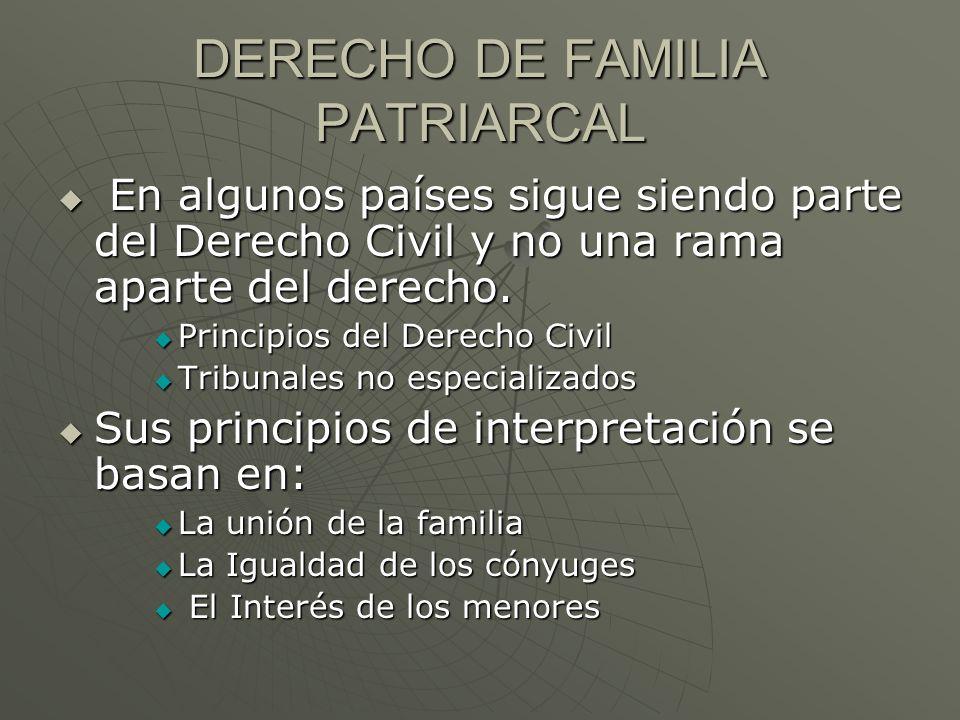 DERECHO DE FAMILIA PATRIARCAL En algunos países sigue siendo parte del Derecho Civil y no una rama aparte del derecho. En algunos países sigue siendo