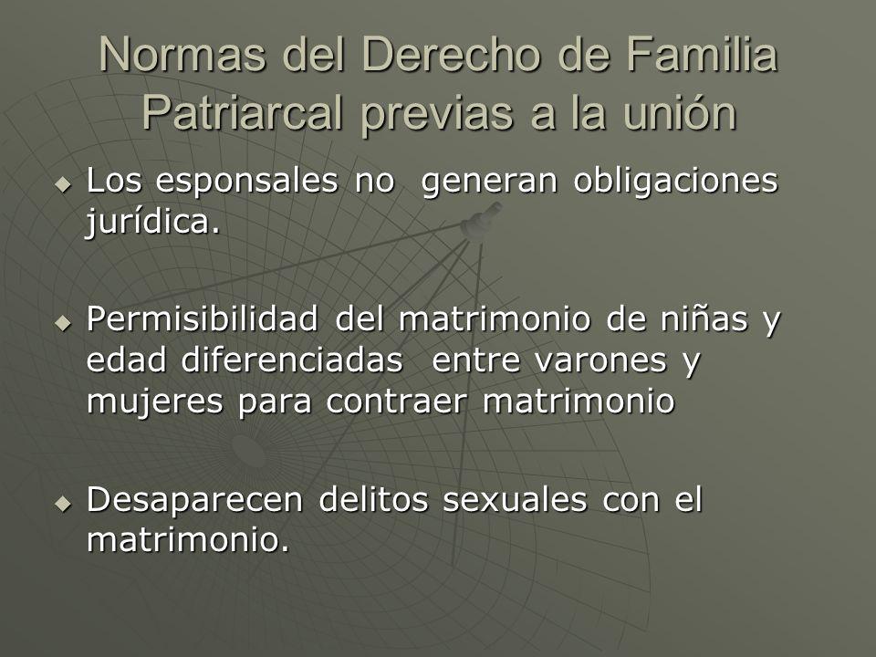 Normas del Derecho de Familia Patriarcal previas a la unión Los esponsales no generan obligaciones jurídica. Los esponsales no generan obligaciones ju