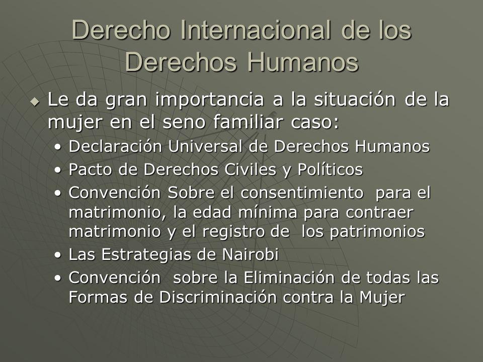 Derecho Internacional de los Derechos Humanos Le da gran importancia a la situación de la mujer en el seno familiar caso: Le da gran importancia a la