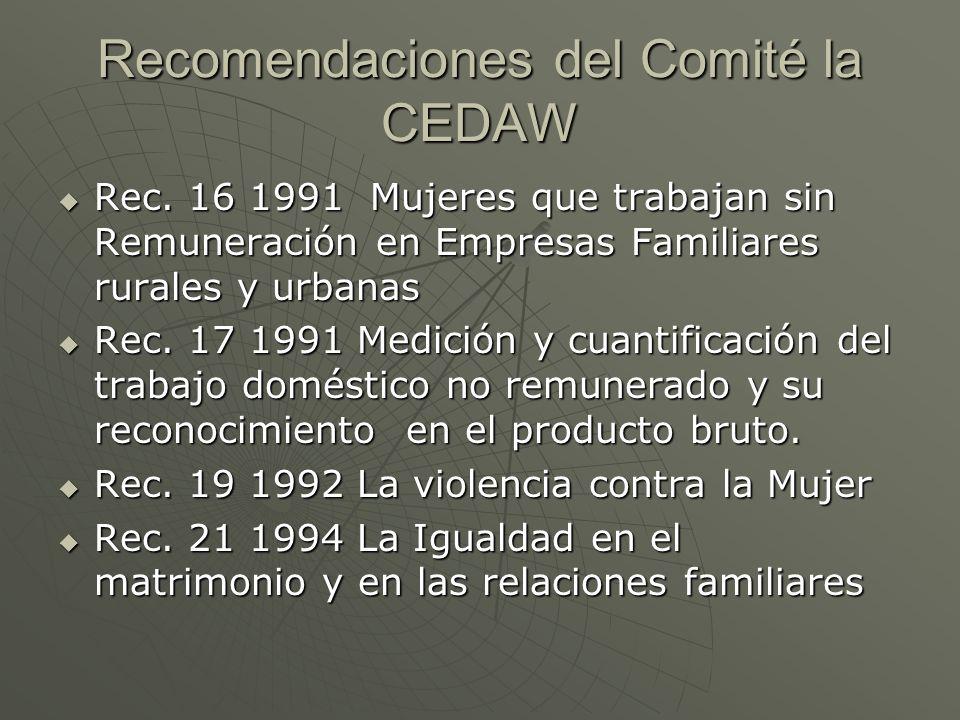Recomendaciones del Comité la CEDAW Rec. 16 1991 Mujeres que trabajan sin Remuneración en Empresas Familiares rurales y urbanas Rec. 16 1991 Mujeres q