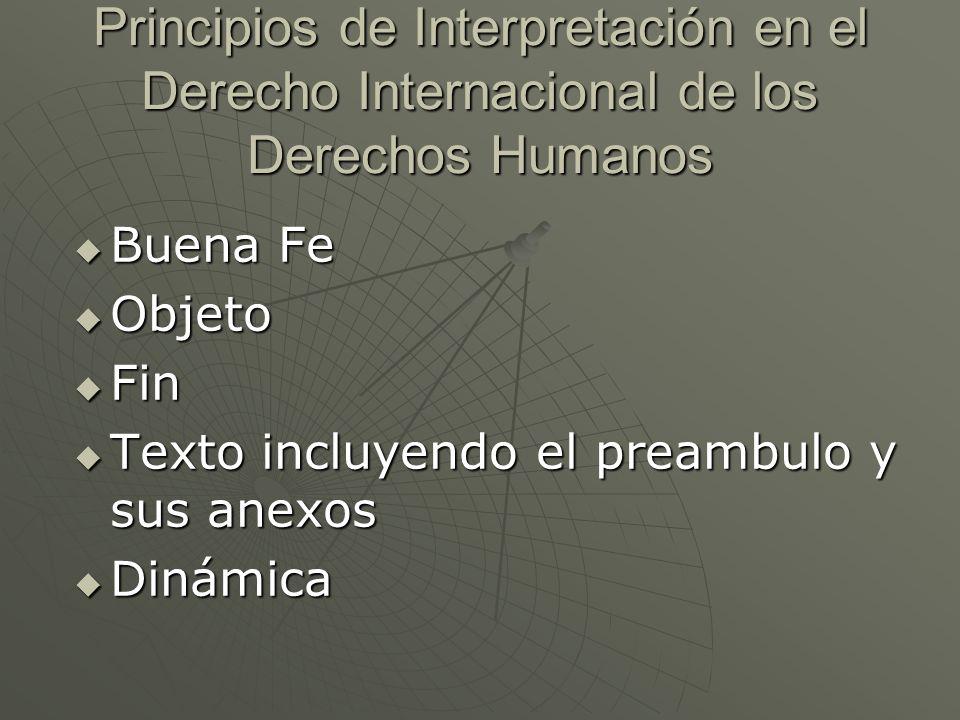Principios de Interpretación en el Derecho Internacional de los Derechos Humanos Buena Fe Buena Fe Objeto Objeto Fin Fin Texto incluyendo el preambulo