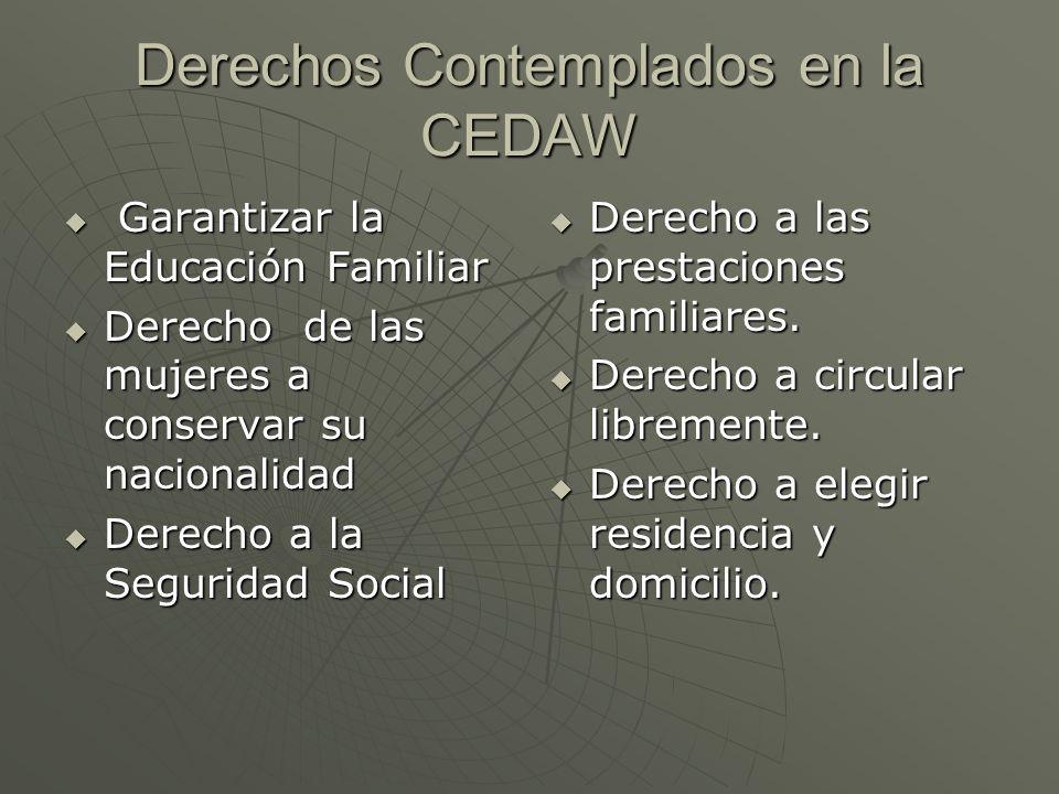 Derechos Contemplados en la CEDAW Garantizar la Educación Familiar Garantizar la Educación Familiar Derecho de las mujeres a conservar su nacionalidad