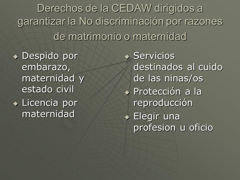 Derechos de la CEDAW dirigidos a garantizar la No discriminación por razones de matrimonio o maternidad Despido por embarazo, maternidad y estado civi