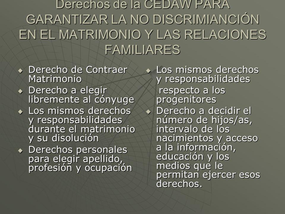 Derechos de la CEDAW PARA GARANTIZAR LA NO DISCRIMIANCIÓN EN EL MATRIMONIO Y LAS RELACIONES FAMILIARES Derecho de Contraer Matrimonio Derecho de Contr