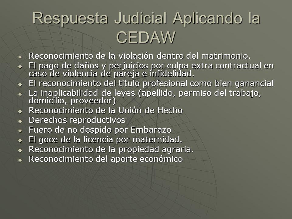 Respuesta Judicial Aplicando la CEDAW Reconocimiento de la violación dentro del matrimonio. Reconocimiento de la violación dentro del matrimonio. El p