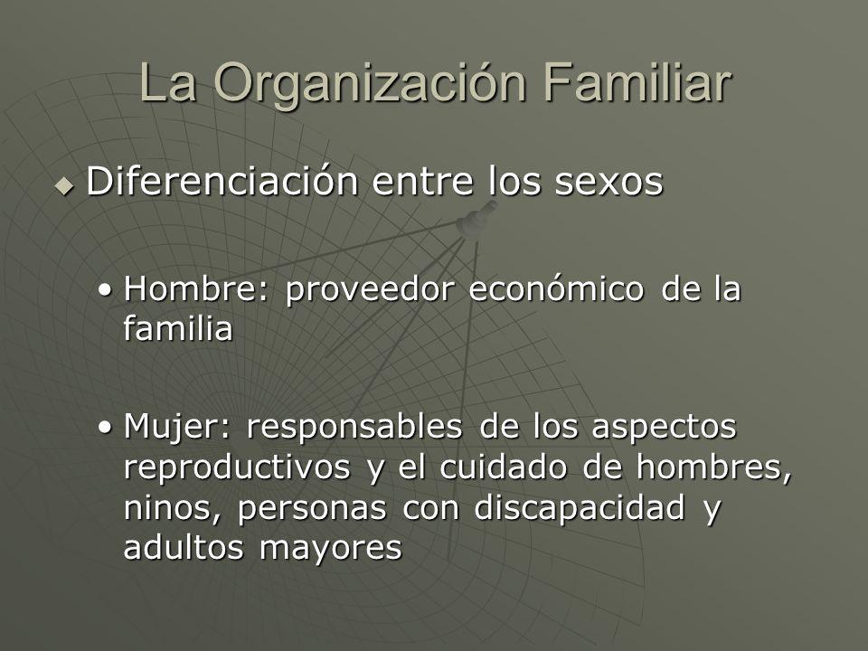 La Organización Familiar Diferenciación entre los sexos Diferenciación entre los sexos Hombre: proveedor económico de la familiaHombre: proveedor econ