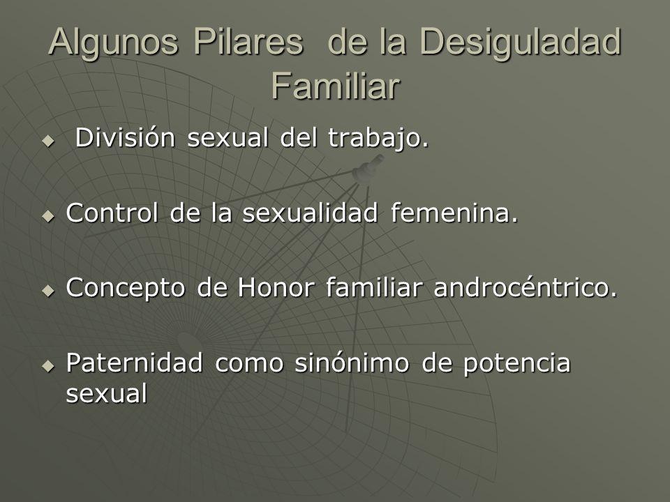 Algunos Pilares de la Desiguladad Familiar División sexual del trabajo. División sexual del trabajo. Control de la sexualidad femenina. Control de la