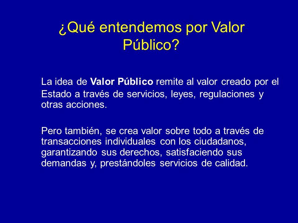 ¿Qué entendemos por Valor Público? La idea de Valor Público remite al valor creado por el Estado a través de servicios, leyes, regulaciones y otras ac