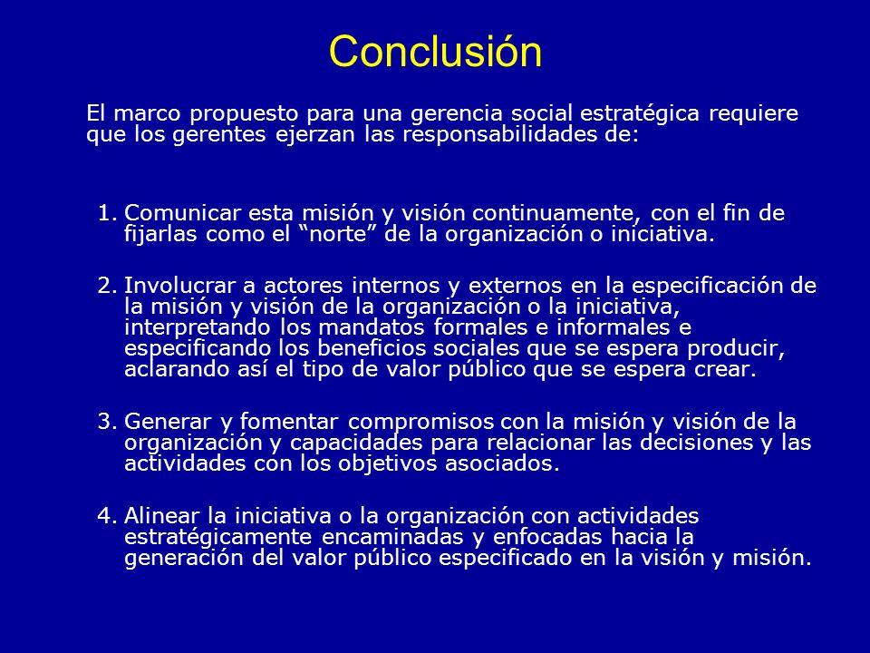 Conclusión El marco propuesto para una gerencia social estratégica requiere que los gerentes ejerzan las responsabilidades de: 1.Comunicar esta misión