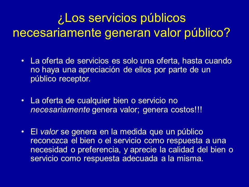 ¿Los servicios públicos necesariamente generan valor público? La oferta de servicios es solo una oferta, hasta cuando no haya una apreciación de ellos