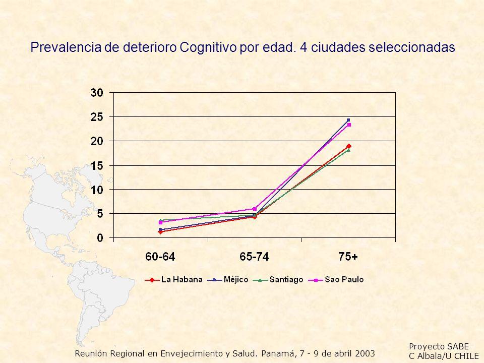 Proyecto SABE C Albala/U CHILE Reunión Regional en Envejecimiento y Salud. Panamá, 7 - 9 de abril 2003 Prevalencia de deterioro Cognitivo por edad. 4