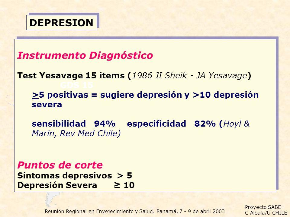 Proyecto SABE C Albala/U CHILE Reunión Regional en Envejecimiento y Salud. Panamá, 7 - 9 de abril 2003 DEPRESION Instrumento Diagnóstico Test Yesavage