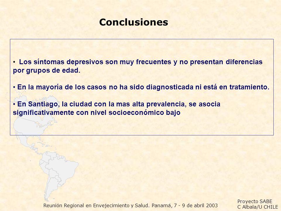 Proyecto SABE C Albala/U CHILE Reunión Regional en Envejecimiento y Salud. Panamá, 7 - 9 de abril 2003 Conclusiones Los síntomas depresivos son muy fr