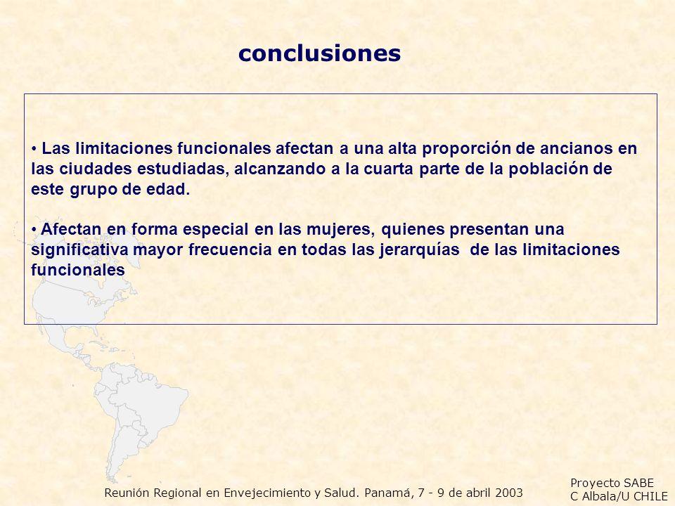 Proyecto SABE C Albala/U CHILE Reunión Regional en Envejecimiento y Salud. Panamá, 7 - 9 de abril 2003 conclusiones Las limitaciones funcionales afect