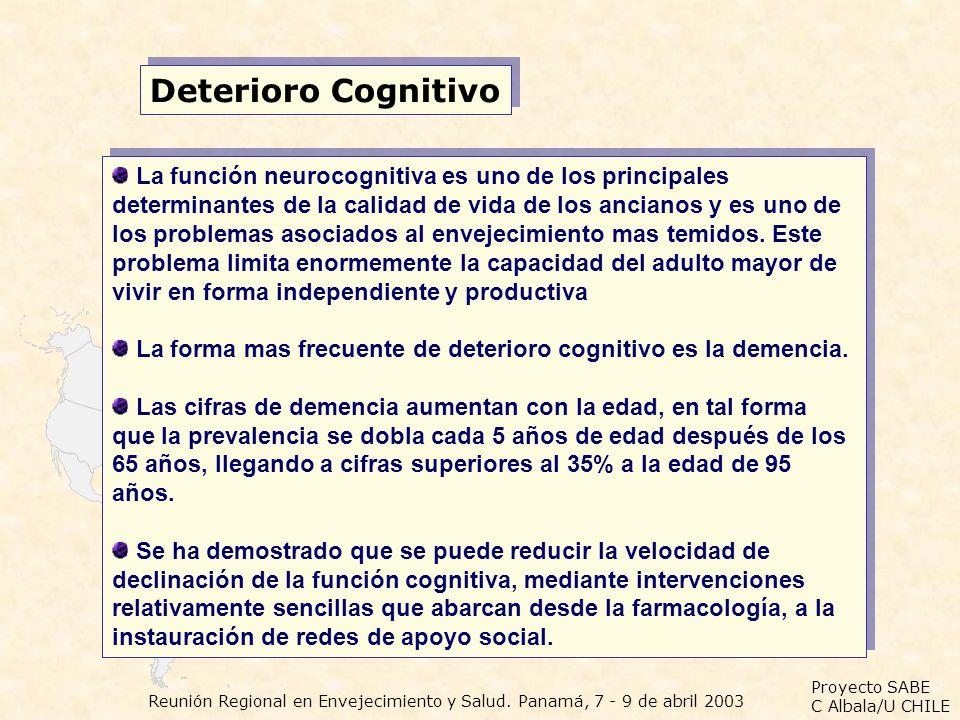 Proyecto SABE C Albala/U CHILE Reunión Regional en Envejecimiento y Salud. Panamá, 7 - 9 de abril 2003 Deterioro Cognitivo La función neurocognitiva e