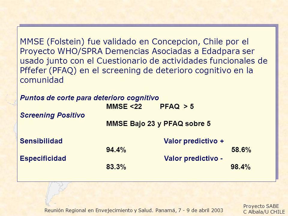 Proyecto SABE C Albala/U CHILE Reunión Regional en Envejecimiento y Salud. Panamá, 7 - 9 de abril 2003 MMSE (Folstein) fue validado en Concepcion, Chi
