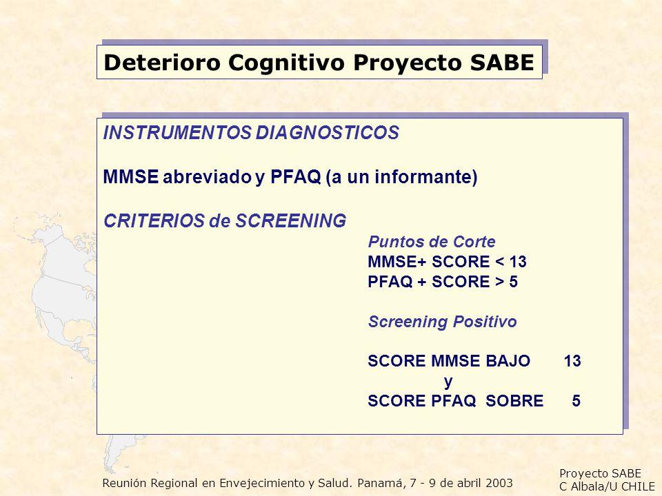 Proyecto SABE C Albala/U CHILE Reunión Regional en Envejecimiento y Salud. Panamá, 7 - 9 de abril 2003 Deterioro Cognitivo Proyecto SABE INSTRUMENTOS