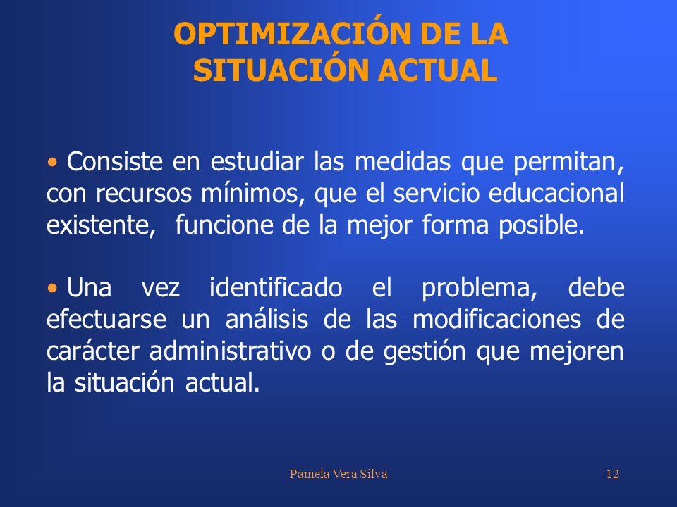 Pamela Vera Silva12 OPTIMIZACIÓN DE LA SITUACIÓN ACTUAL Consiste en estudiar las medidas que permitan, con recursos mínimos, que el servicio educacional existente, funcione de la mejor forma posible.