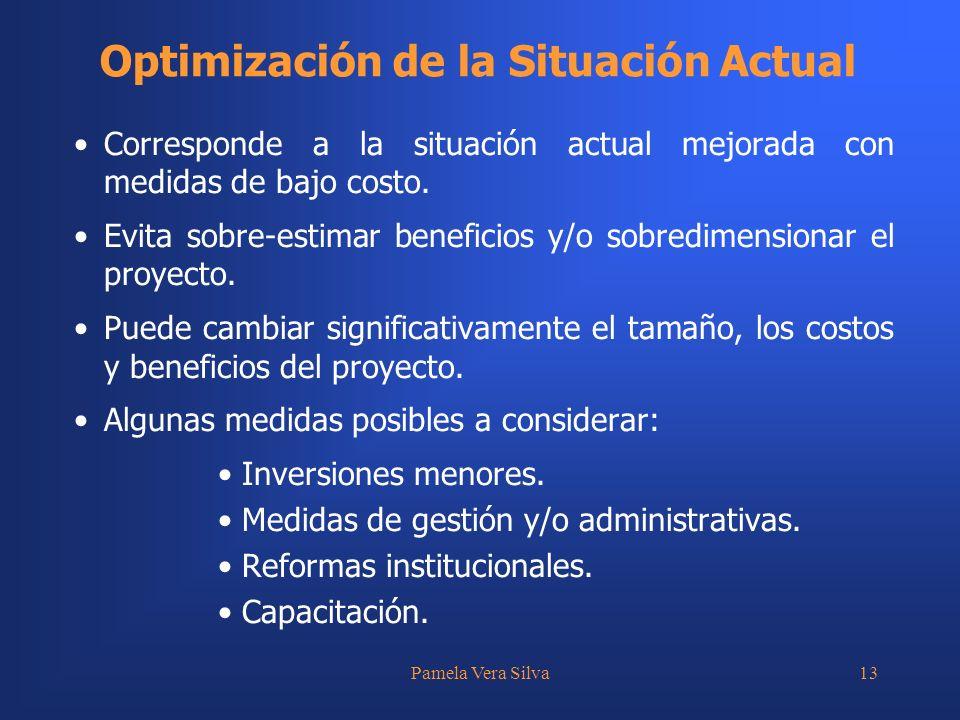 Pamela Vera Silva13 Optimización de la Situación Actual Corresponde a la situación actual mejorada con medidas de bajo costo. Evita sobre-estimar bene