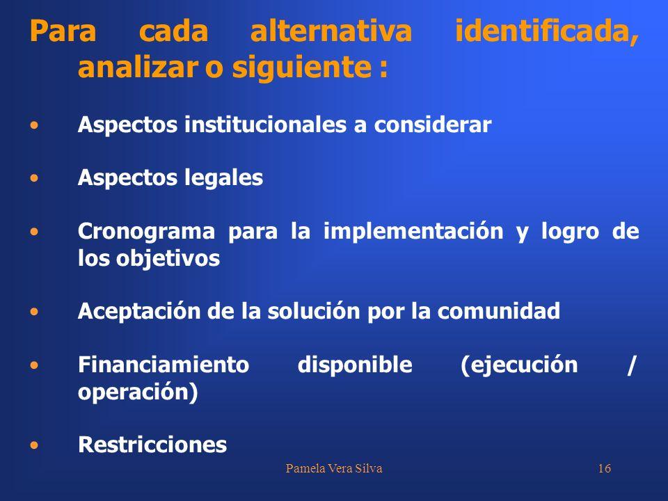 Pamela Vera Silva16 Para cada alternativa identificada, analizar o siguiente : Aspectos institucionales a considerar Aspectos legales Cronograma para la implementación y logro de los objetivos Aceptación de la solución por la comunidad Financiamiento disponible (ejecución / operación) Restricciones