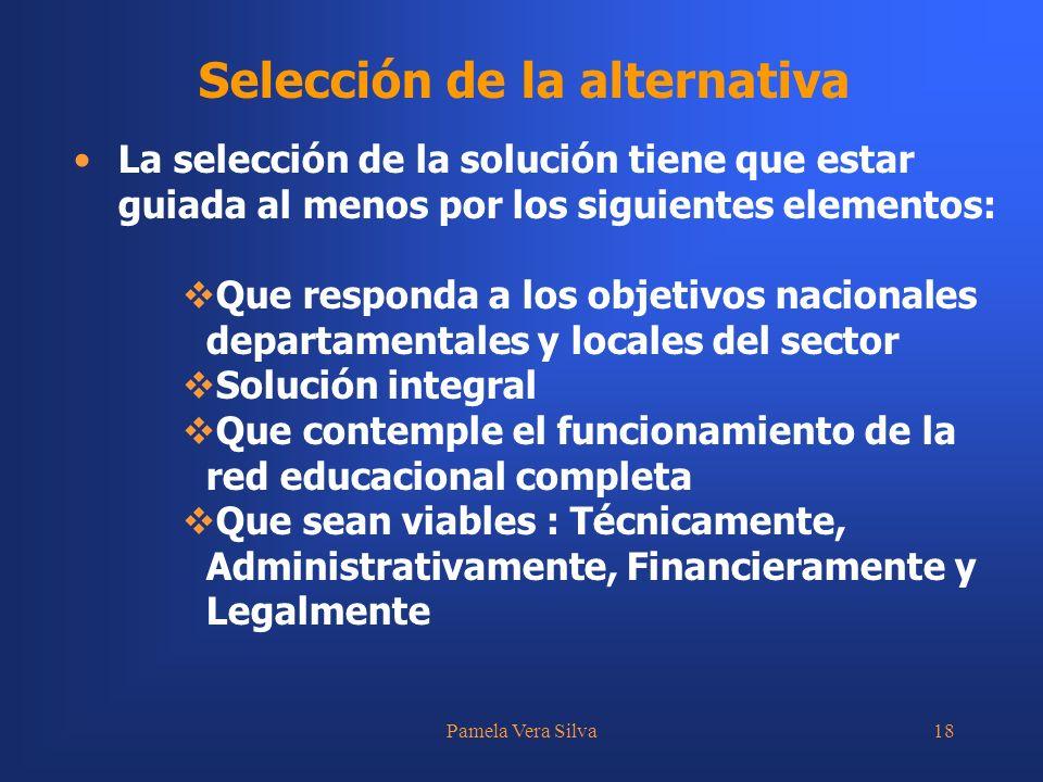 Pamela Vera Silva18 Selección de la alternativa La selección de la solución tiene que estar guiada al menos por los siguientes elementos: Que responda