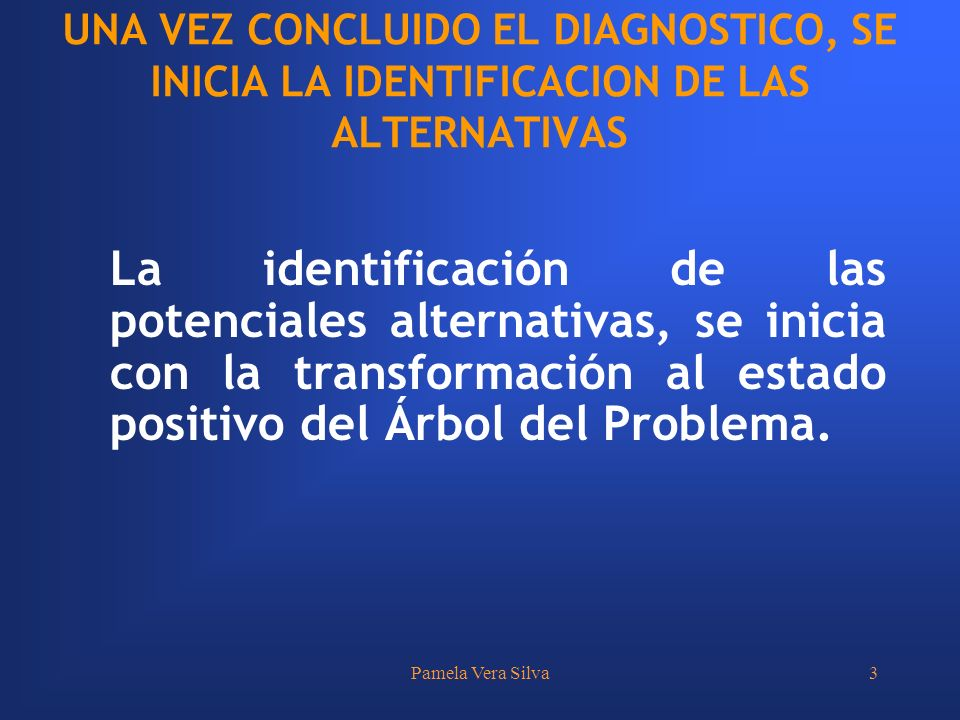 Pamela Vera Silva3 UNA VEZ CONCLUIDO EL DIAGNOSTICO, SE INICIA LA IDENTIFICACION DE LAS ALTERNATIVAS La identificación de las potenciales alternativas