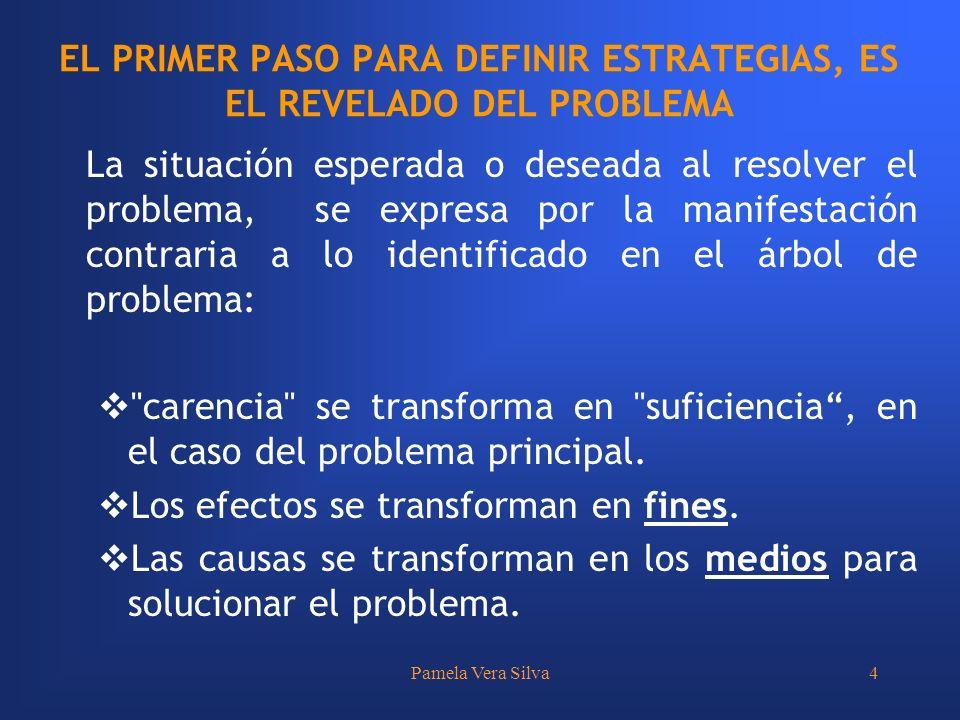 Pamela Vera Silva4 EL PRIMER PASO PARA DEFINIR ESTRATEGIAS, ES EL REVELADO DEL PROBLEMA La situación esperada o deseada al resolver el problema, se ex