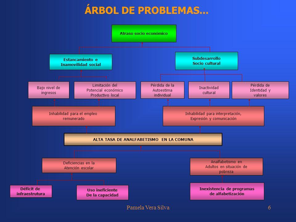 Pamela Vera Silva6 ÁRBOL DE PROBLEMAS... Inhabilidad para el empleo remunerado Inhabilidad para interpretación, Expresión y comunicación ALTA TASA DE