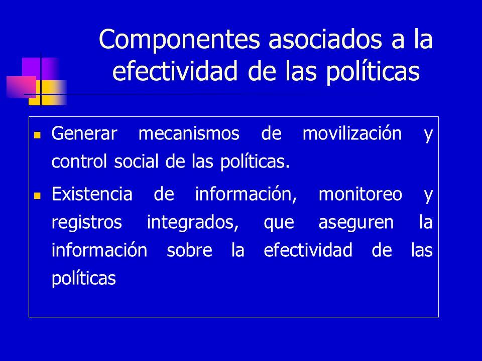 Componentes asociados a la efectividad de las políticas Generar mecanismos de movilización y control social de las políticas. Existencia de informació