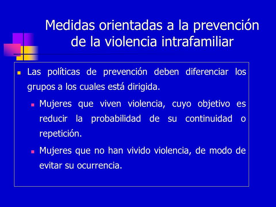 Medidas orientadas a la prevención de la violencia intrafamiliar Las políticas de prevención deben diferenciar los grupos a los cuales está dirigida.