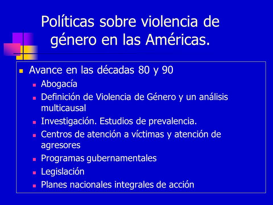 Políticas sobre violencia de género en las Américas. Avance en las décadas 80 y 90 Abogacía Definición de Violencia de Género y un análisis multicausa