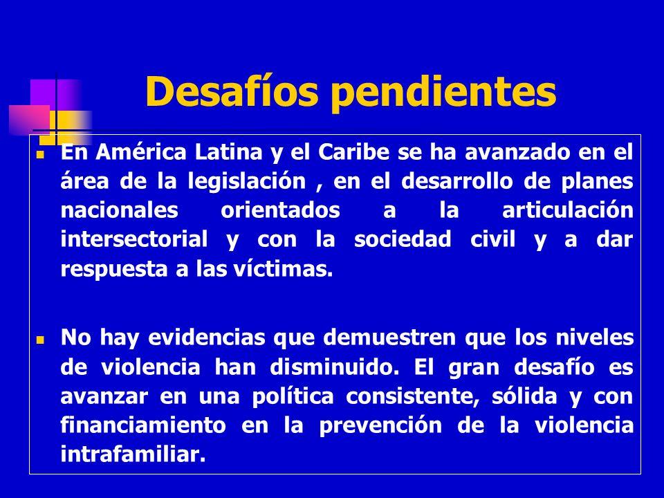Desafíos pendientes En América Latina y el Caribe se ha avanzado en el área de la legislación, en el desarrollo de planes nacionales orientados a la a