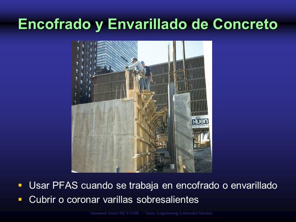 Harwood Grant 46F1-HT06 - Texas Engineering Extension Service Encofrado y Envarillado de Concreto Usar PFAS cuando se trabaja en encofrado o envarilla